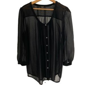 Aritzia Babaton Black Silk Shirt.
